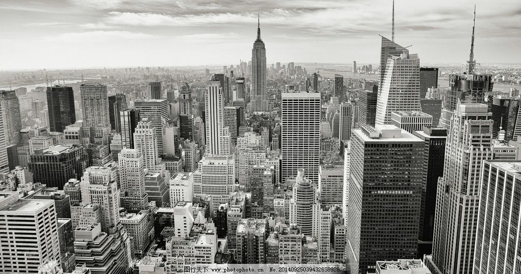 黑白手绘高楼大厦