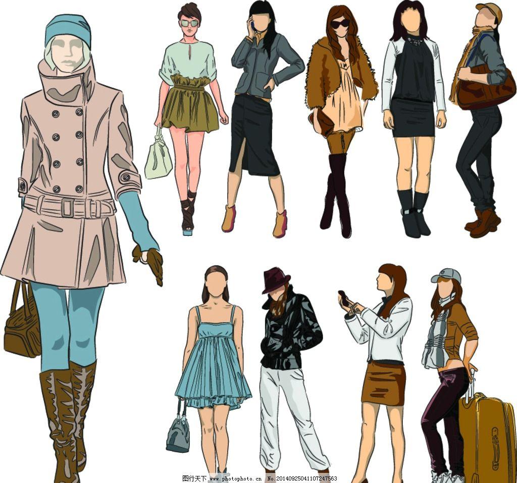 手绘少女 简笔画插图 服装设计 手绘美少女 女孩 女人 美女 时尚 卡通