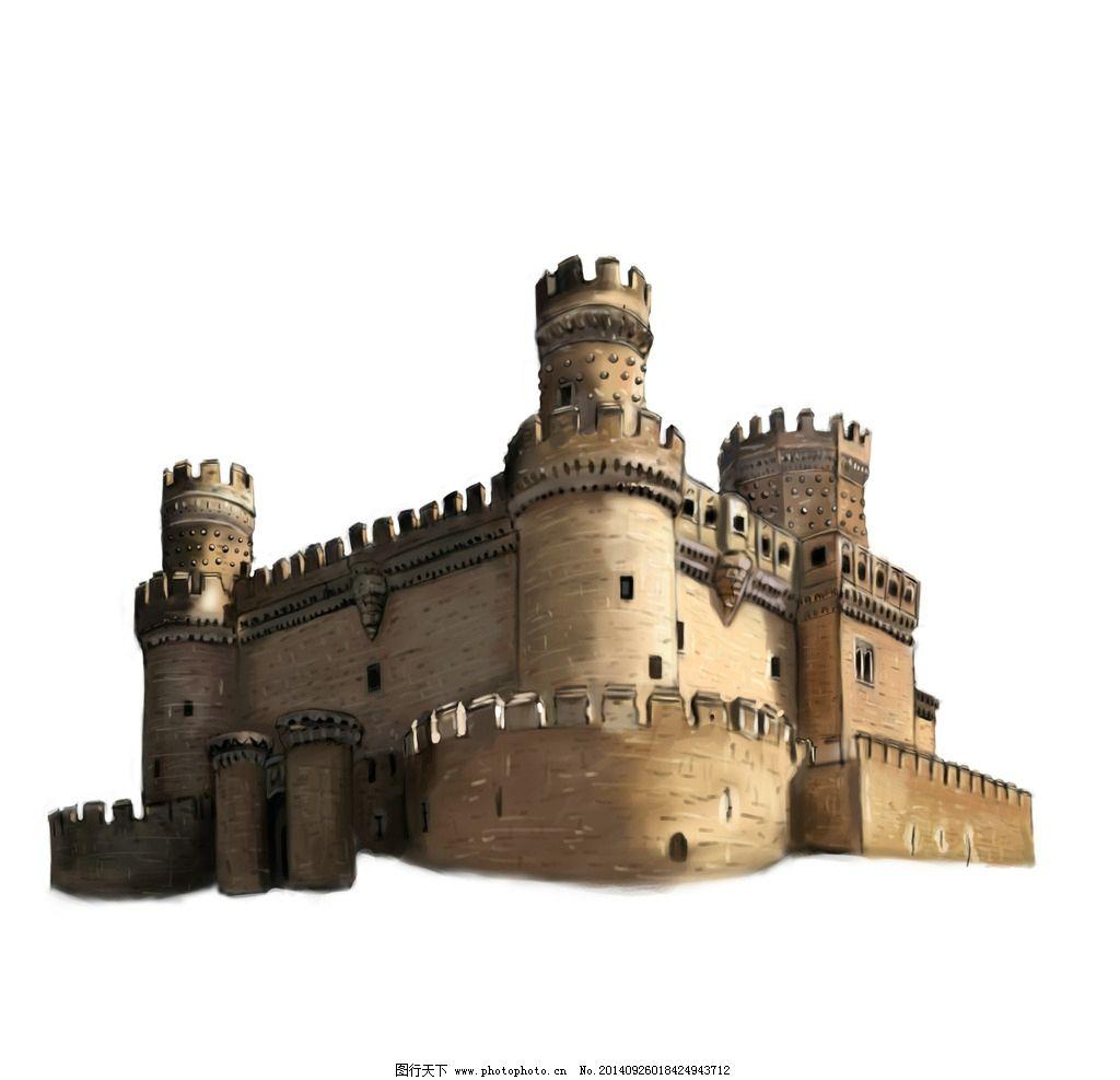 城堡游戏素材 房子 手绘 古代 复古 原画 动漫动画