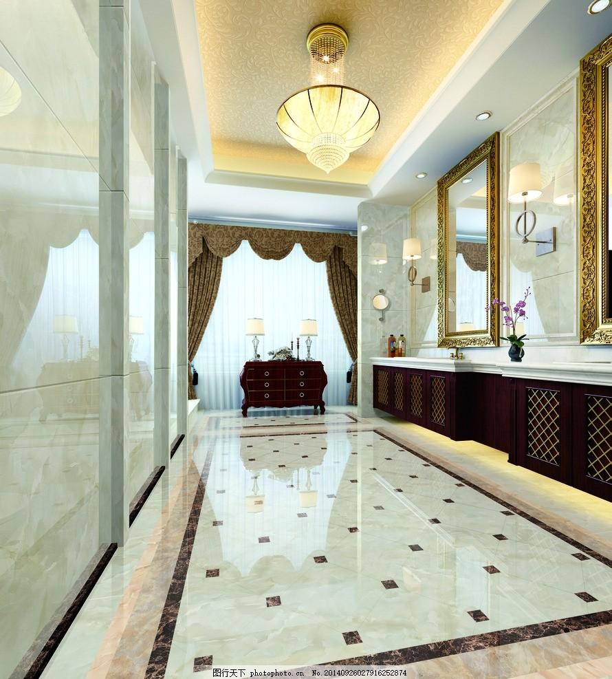 洗手间 合层效果图 镜子 洗手台 抛光 吊灯 欧式 室内效果图