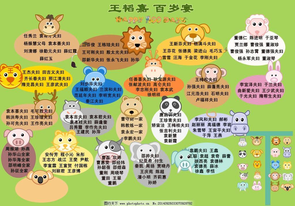百岁宴座次表 动物主题 聚会 宝宝宴