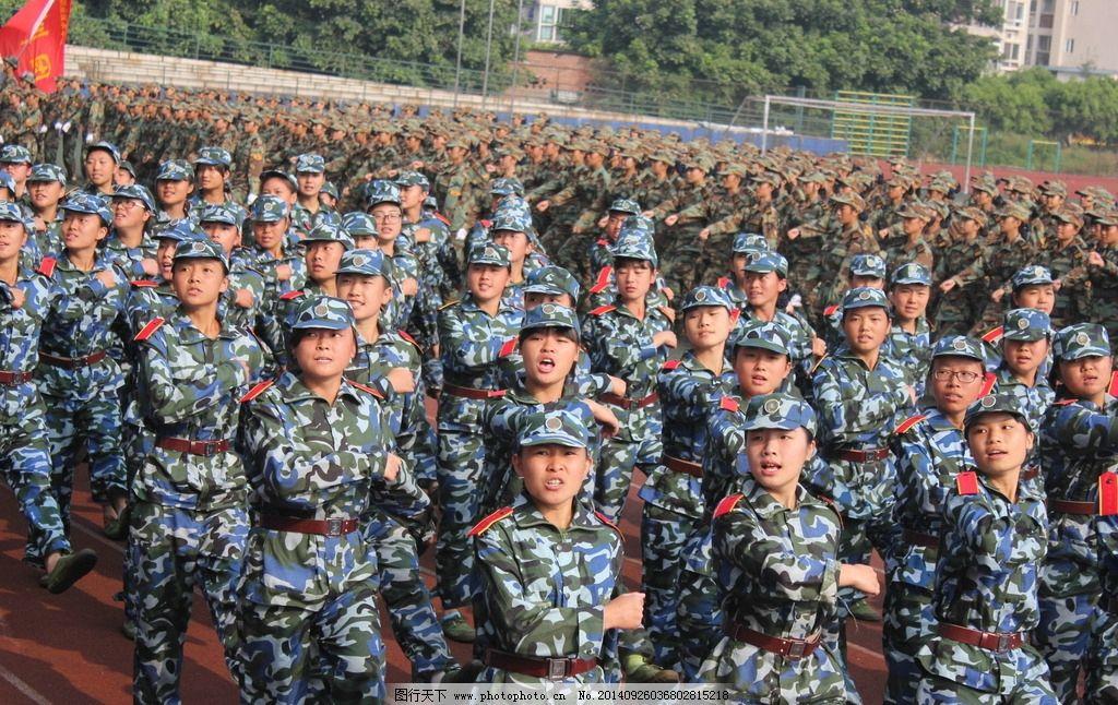 军训剪影 人物 军姿 校园 展板 摄影 其他人物