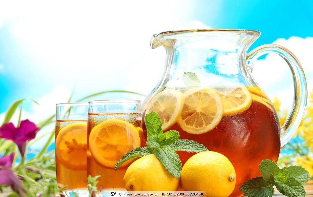 柠檬茶 柠檬水 柠檬红茶 柠檬柚子茶 蜂蜜柠檬茶 杯子 透明 绿叶 叶子
