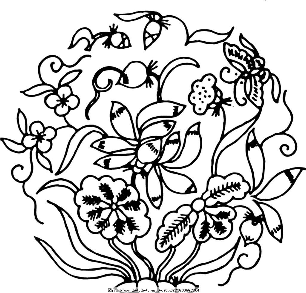莲花 荷花 花朵 矢量线图 图腾 花纹 复古图案 吉祥图腾 印花 剪影 中图片
