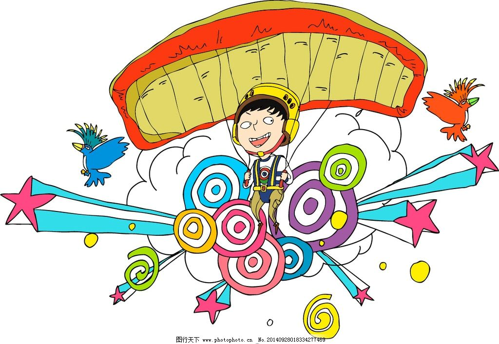 潮流卡通降落伞矢量 人物 飞翔 鸟 动漫动画图片