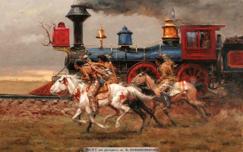 国外油画骑马图片