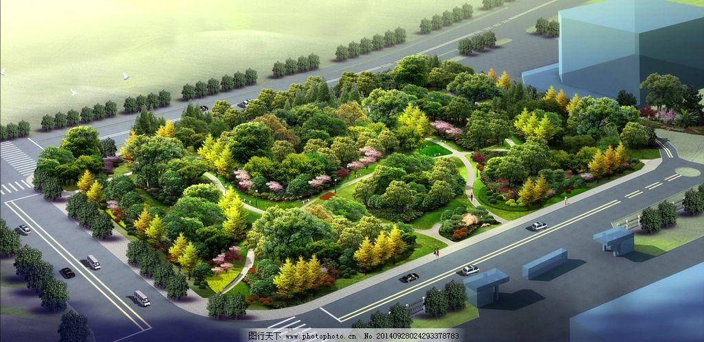 公园绿化土 公园设计 公园景观 后期效果图 设计 自然景观 建筑园林