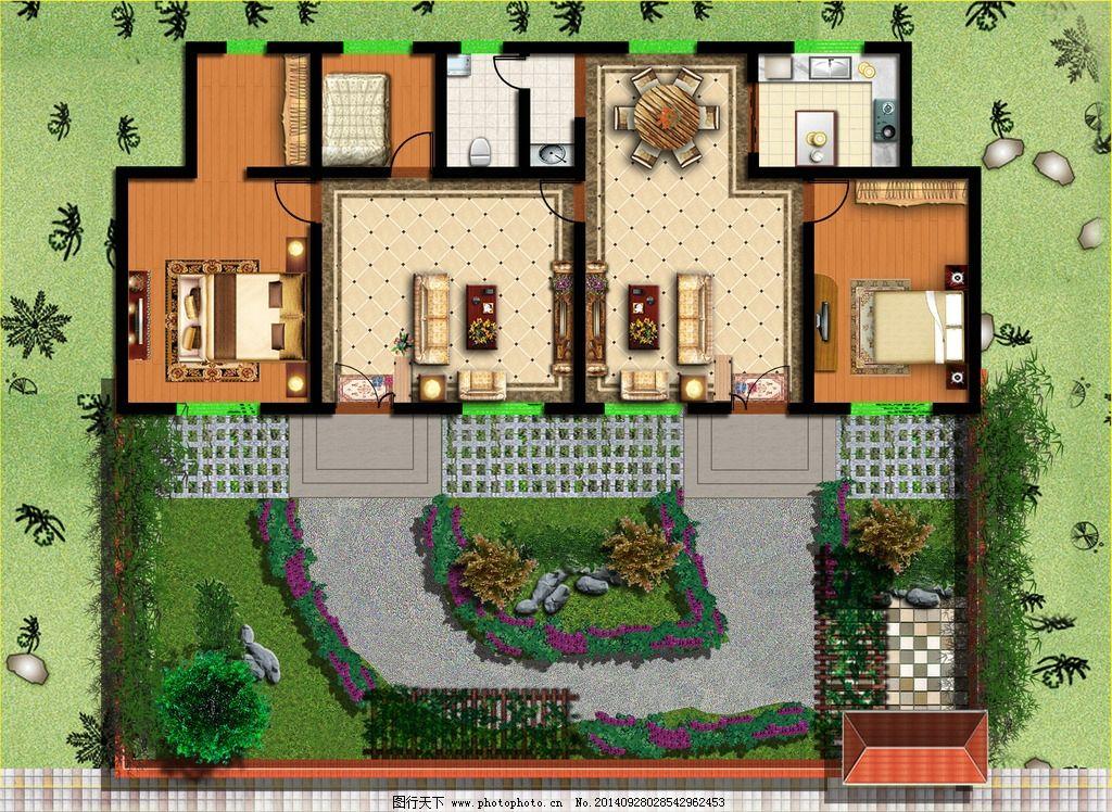 庭院规划 景观                       围墙 大门 平房 建筑设计效果