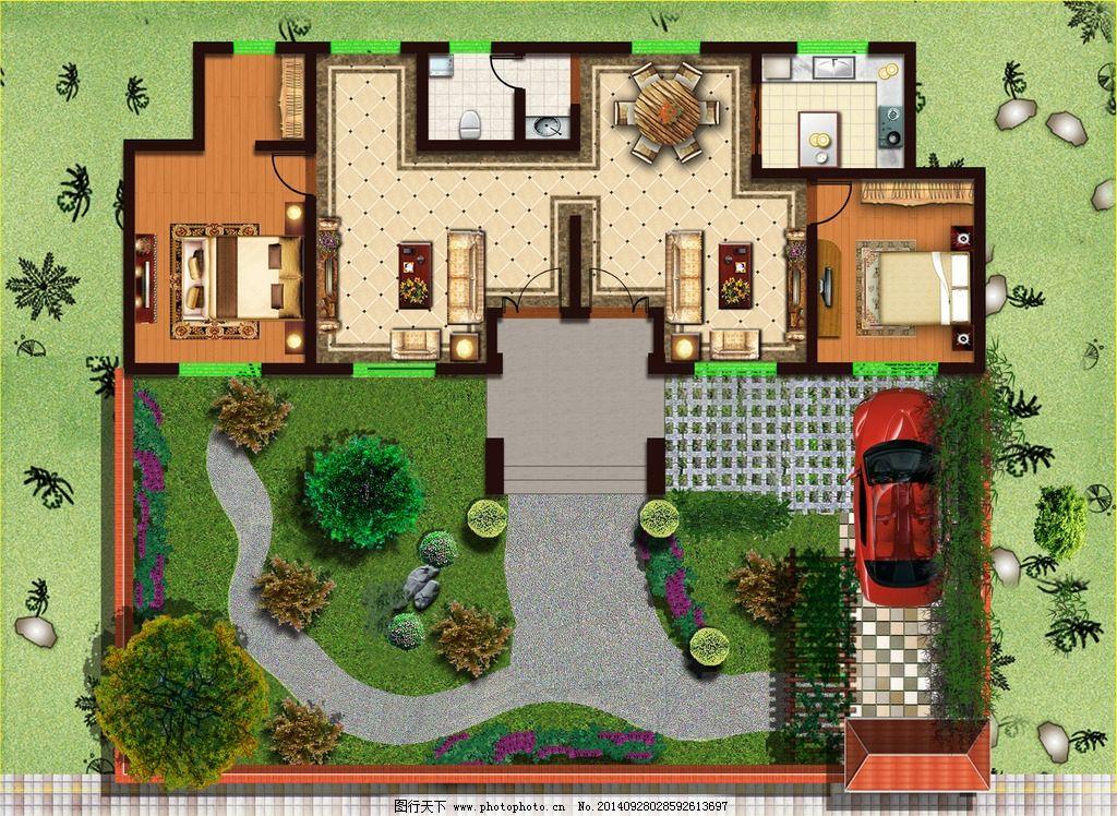 园林设计 庭院规划 景观                       围墙 大门 平房 建筑图片