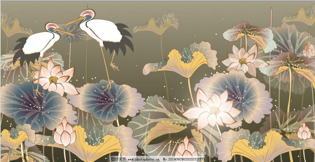 荷花仙鹤矢量图图片