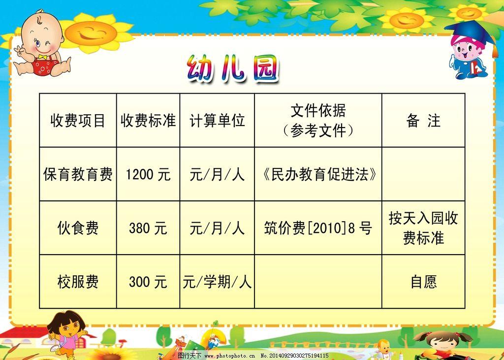 幼儿园 收费 收费标准 标准 模板 设计 广告设计 展板模板 120dpi psd