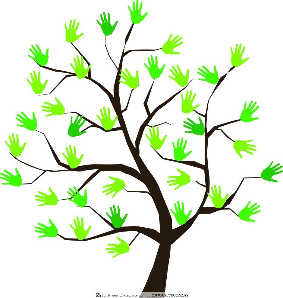 手掌 树 矢量图 手绘 素材 设计 其他 图片素材 ai